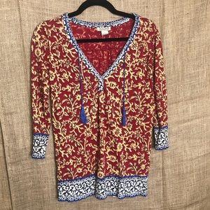 Lucky Brand Blouse S Print Long Sleeve V Neck Top